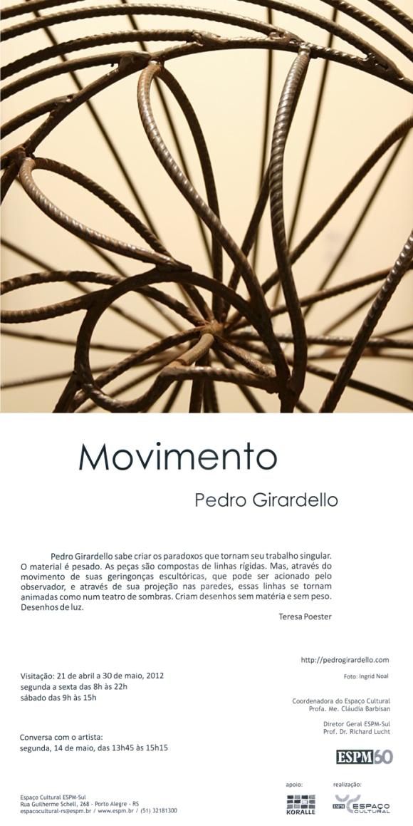 Convite Exposição Movimento. Texto de Teresa Poester