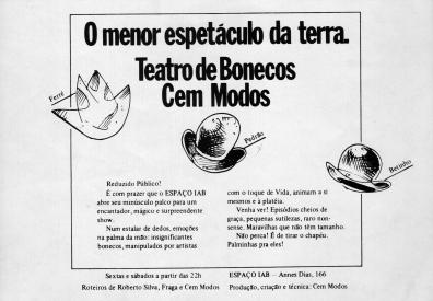 "Programa da peça ""O menor espetáculo da Terra"" -1983"