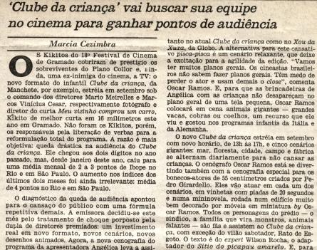 Matéria no Jornal do Brasil sobre a produção do Clube da Criança da Rede Manchete - 1990