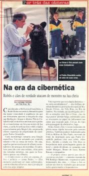 """Matéria na Revista Contigo sobre dublê mecânico de um cachorro para série """"Malhação"""" na Rede Globo - 1997"""