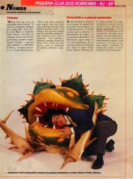 """Matéria no Jornal do Brasil sobre as plantas carnivoras do musical: Pequena Loja dos Horrores"""" - 1989"""