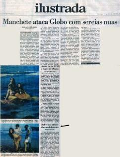 Reportagem sobre as sereias na Folha de São Paulo - 1990