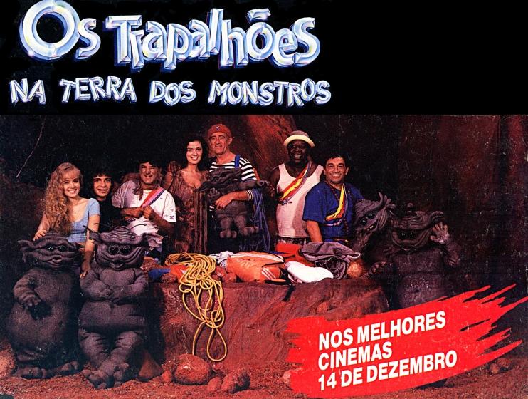 """Os """"Grunks"""" no cartaz do filme """"Os Trapalhões na Terra dos Monstros"""" - 1989"""