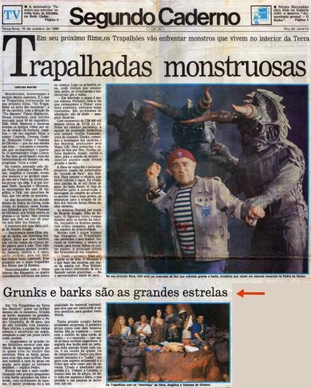 """Matéria no Jornal o Globo com foto dos """"Barks"""" e Renato Aragão - 1989"""